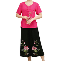 Oriental Women Summer Two Pieces Pant Suits Sets Woman Ethnical Short Sleeve Blouse And Loose Cropped Pant Set Outfits Ensemble
