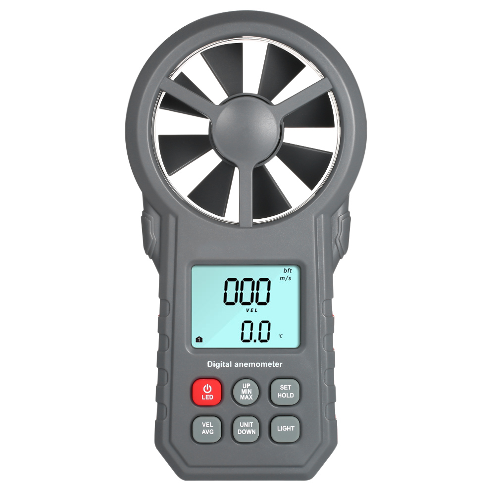 Digital Anemometer as Wind Speed Meter with Flashlight for Air Velocity and Air Temperature Test