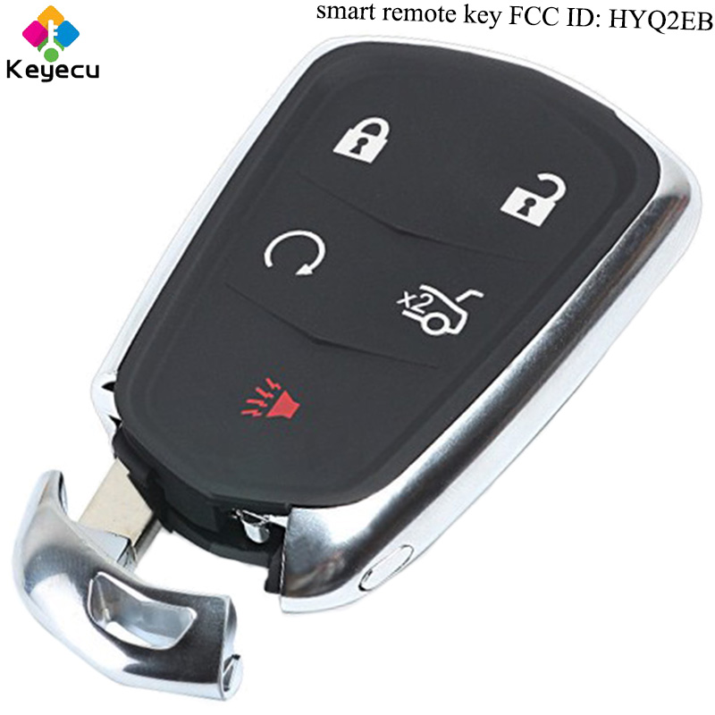 KEYECU Replacement Keyless Entry Smart Remote Control Car Key - 5 Buttons & 433MHz - FOB for Cadillac XT5 2017 FCC ID: HYQ2EB keyecu replacement remote key 2 buttons