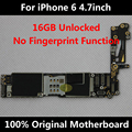 100% original motherboard para iphone 6 4,7 polegadas desbloqueado 16 gb placa lógica mainboard sem impressões digitais em todo o mundo usam chips completo