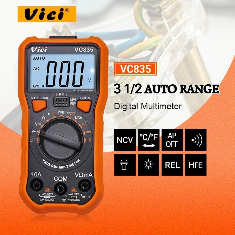 VICI VC835 TRMS Multimètre Numérique autoranging multimetro HFE température testeur avec NCV rétro-éclairage data hold lampe de poche