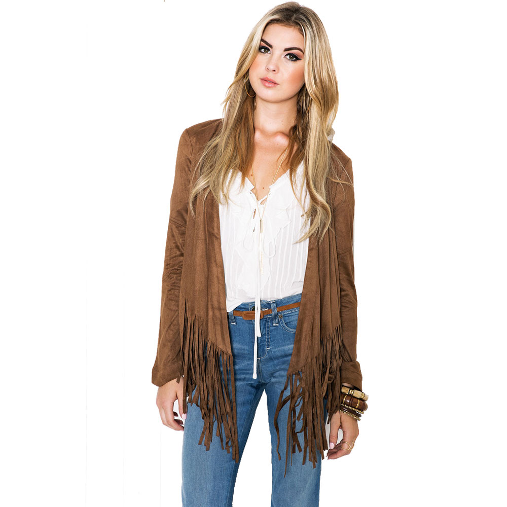Women Fashion Autumn New   Leather     Suede   Jackets Short Tassel Outerwear Female Clothing FS0140