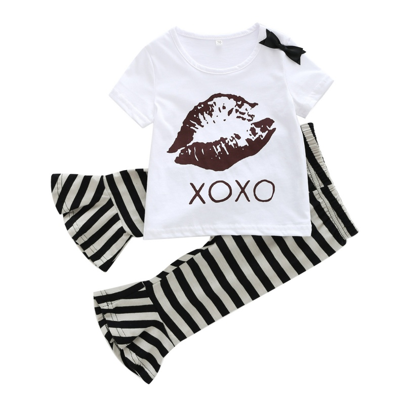 Stylish 2PCS Summer Newly Hot Sale Baby Girls Casual Clothes Set Infant Kids Short-sleeved T-shirt+Striped Flared Pants Suits