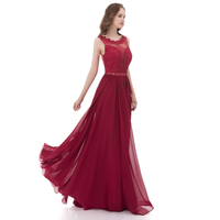 Lover Kiss Long Burgundy Prom Dresses For Women Spring Summer Lace Chiffon Christmas Party Gowns Plus