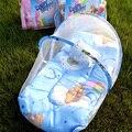 Новая Акция портативный детская кровать складная детская кроватка с москитной чистая весна лето детская кровать с матрасом подушка розовый и синий