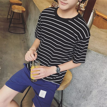 2018 Fashion Men Striped Slim Fit O-Neck Short Sleeves T shirt Pure Cotton T-shirt Man Top Tee Casual Tops For Boy