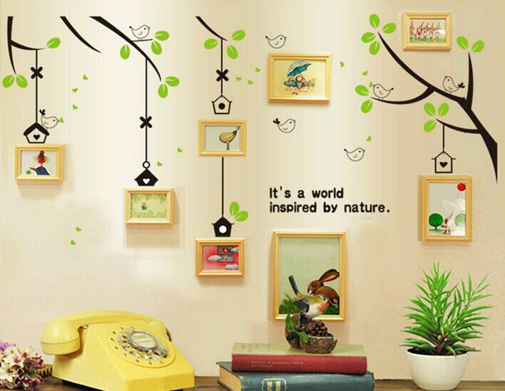 Free Shipping AY716 New birds home in tree Vinyl Wall Decals For ...