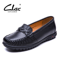 CLAX Women Loafers Leather Women Flat Shoe 2017 Summer Autumn Genuine Leather Lady Retro Footwear Breathable