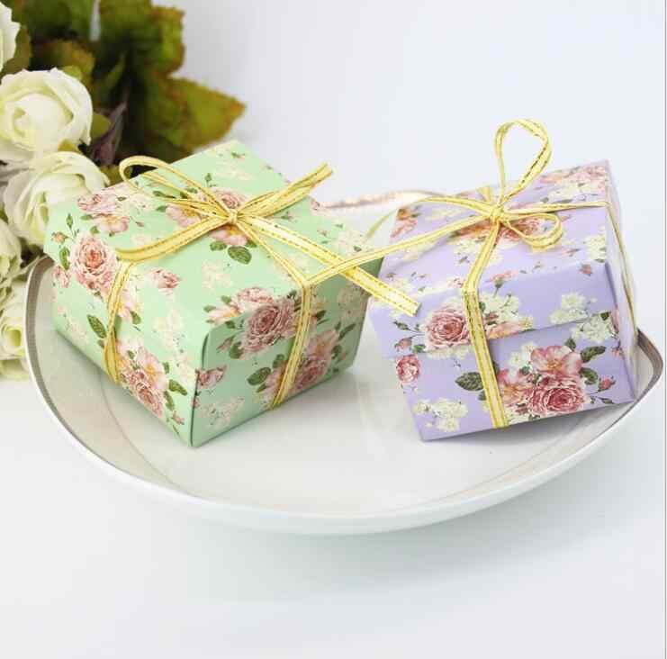 Caja de caramelos bolsa de papel de chocolate caja de regalo flor verde púrpura para cumpleaños boda fiesta manualidades de decoración favor baby shower Wh