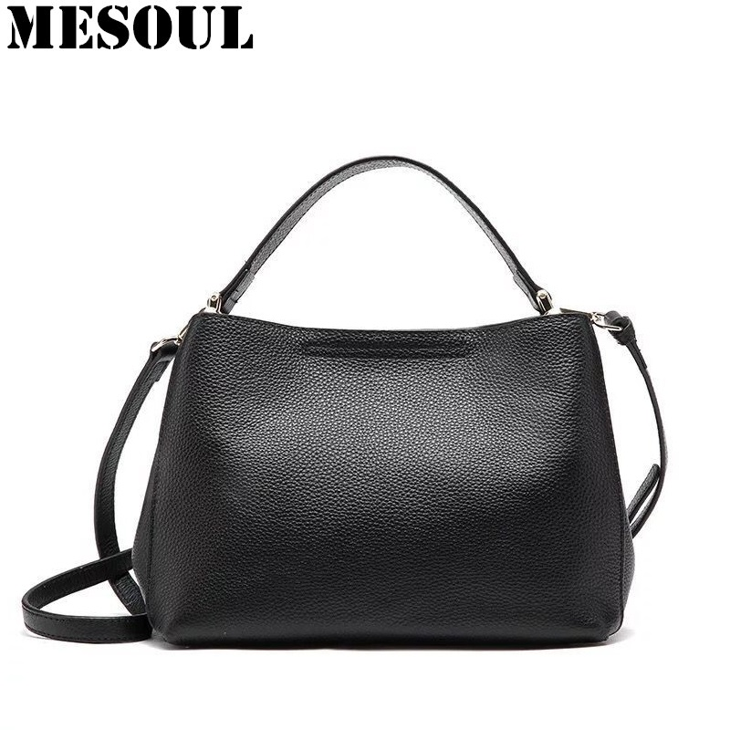 MESOUL Brand Composite Bag Women Solid Genuine Leather Shoulder Bags Women's Casual Tote Bag New Designer Female Bucket Handbags 2017 new female genuine leather handbags first layer of cowhide fashion simple women shoulder messenger bags bucket bags