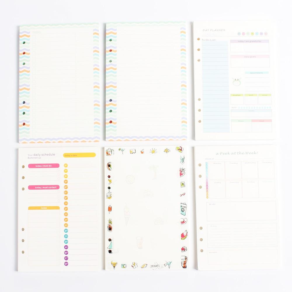 Nuevo creativo original 6 agujeros cuadernos de espiral interior de núcleo de papel/relleno de papel: la línea en blanco diario planificador semanal A5 A6