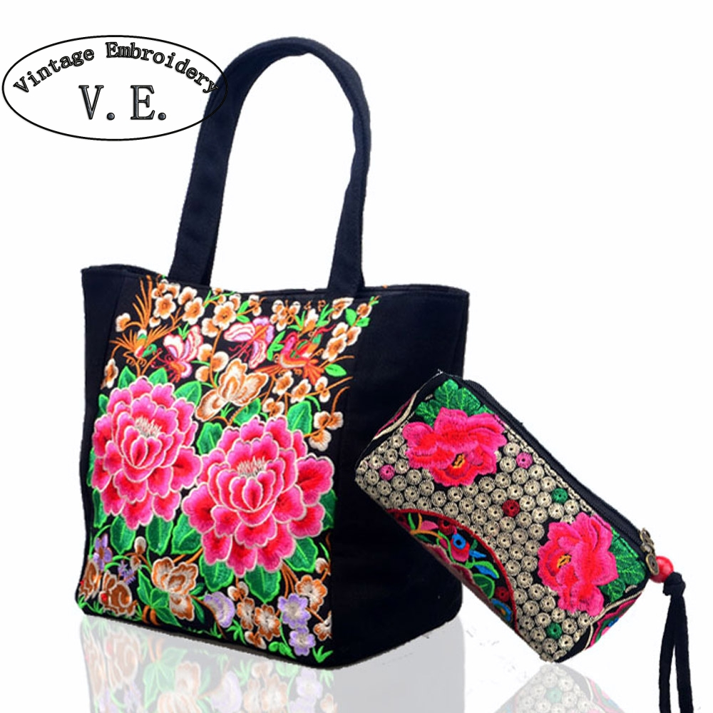 Aliexpress.com  Buy 2pcs New Original Ethnic Embroidery Bag Peony Floral Embroidered Tote ...