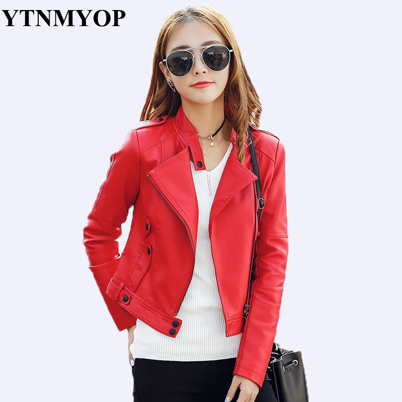 YTNMYOP Women   Leather   Jacket Red Ladies Clothing Outerwear Slim Motorcycle   Leather   Coat Plus Size S-3XL   Suede