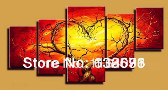 Red Yellow Couple Lovers Heart Tree Art Canvas Painting Oil Cheap ...