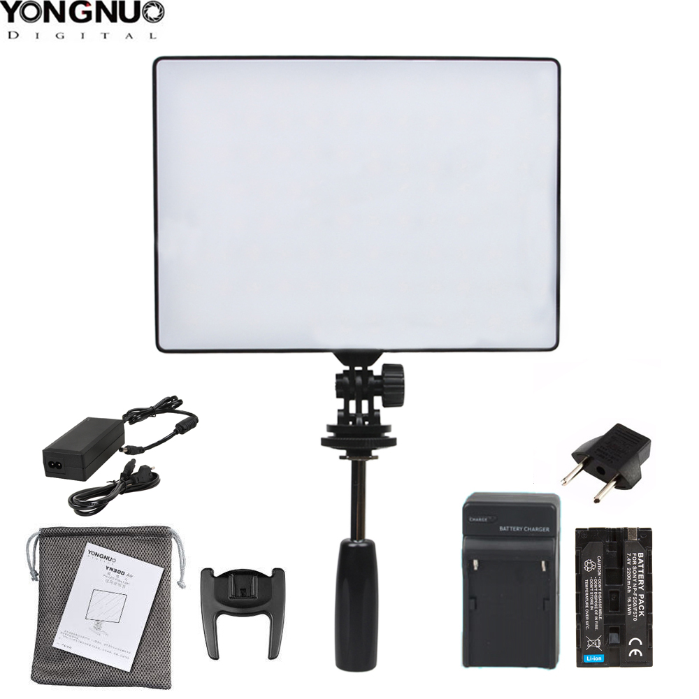 YONGNUO YN300 Air YN 300 Air Pro LED Camera Video Light Optional with Battery Charger kit photography Light +AC power adapter-in Photographic Lighting from Consumer Electronics    1