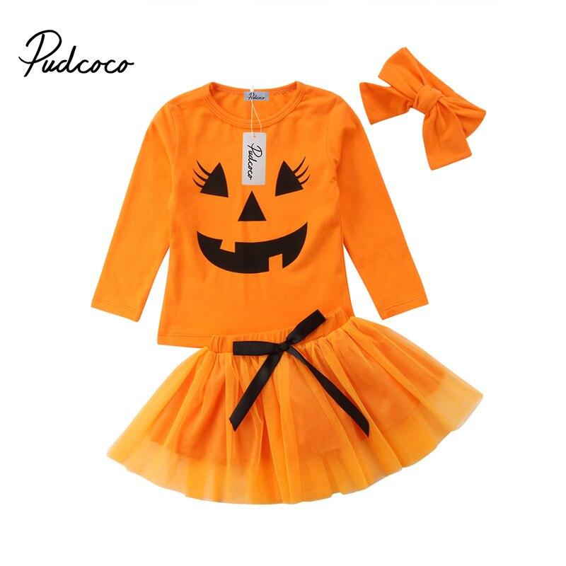3pcs/set Children Girls Pumpkin Halloween Clothes Sets Long Sleeve T-shirt Tops Headband Girls Outfits 2-6t Tulle Tutu Skirt