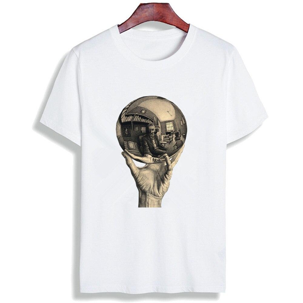 CoöPeratieve Nieuwe Model T-shirt Vrouwen Escher Surreal Print Korte Mouw Tops & Tee Fashion Casual Tshirt Unisex Paar Kleding Camisetas