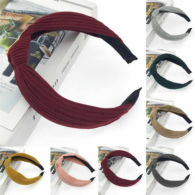 Moda jednolity kolor pałąk przewodowy Headbanf Polka Tartan Retro szalik drut pasmo włosów gorąca sprzedaż akcesoria do włosów