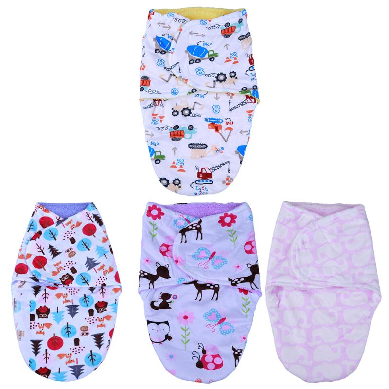Envelop Newborn Baby Sleeping Bag Autumn Winter Warm Blanket Cartoon Pattern Baby Crib Pram Stroller Swaddling Soft Sleeping Bag newborn baby blanket bed crib toddler unicorn pattern knit blankets infant soft baby fleece pram crib blanket size 60 120cm