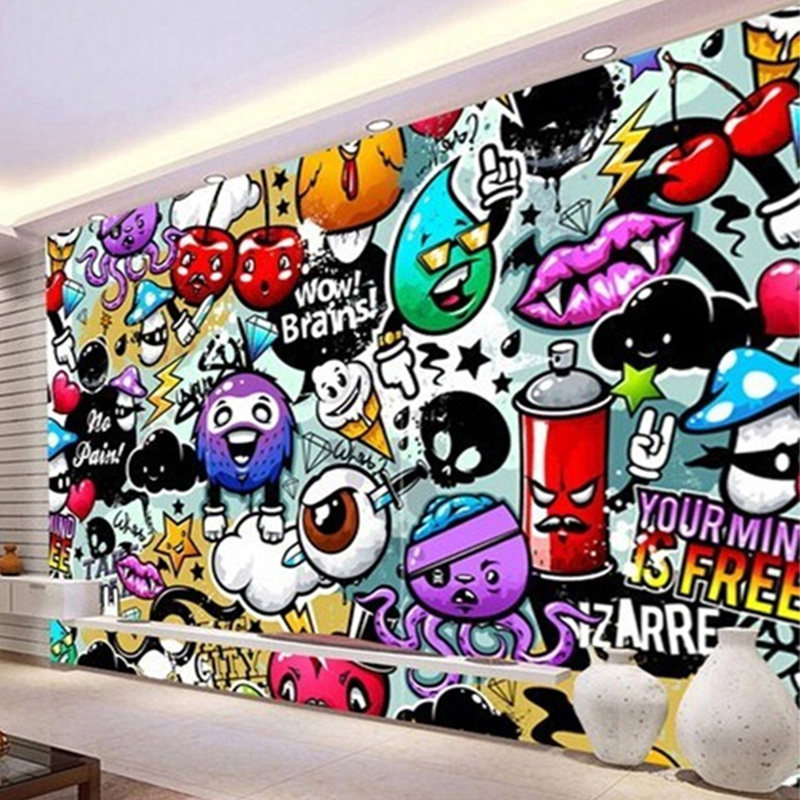Custom Any Size Wall Cloth 3d Cartoon Graffiti Wall Mural Photo Wallpaper Living Room Children S Kids Bedroom Backdrop Covering Backdrop 3d Backdrop Wallpaperbackdrop Photo Aliexpress