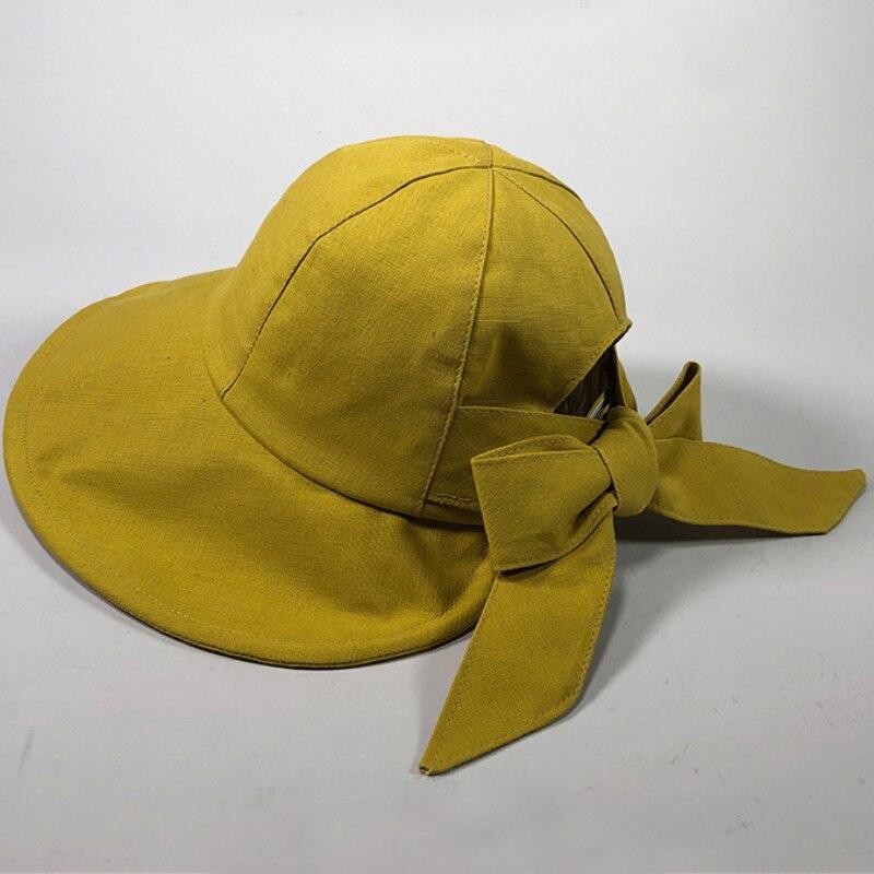 Intellective Ht2369 Spring Summer Women Hat Big Bow Solid Cotton Panama Hat Ladies Packable Fishing Cap Female Wide Brim Beach Sun Hat Bucket Apparel Accessories