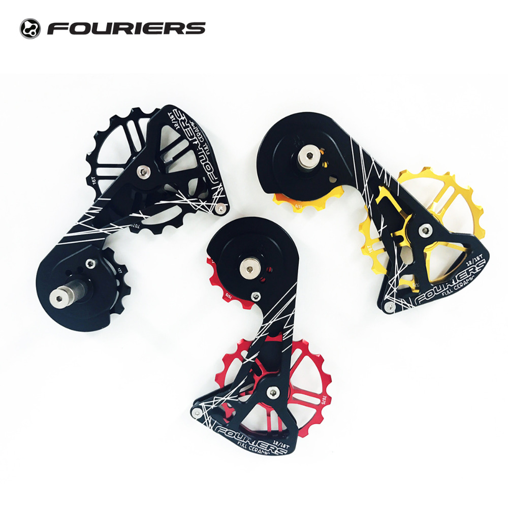 Fouriers CNC Road Bike Rear Derailleur Cage Full Ceramic Pulleys 12T 16T Bicycle Drivetrain Jockey For RD 8000 9100