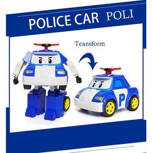 Image 4 - مجموعة من 6 قطعة بولي سيارة الاطفال لعبة روبوت تحويل سيارة الكرتون أنيمي ألعاب شخصيات الحركة للأطفال هدية juguداعي