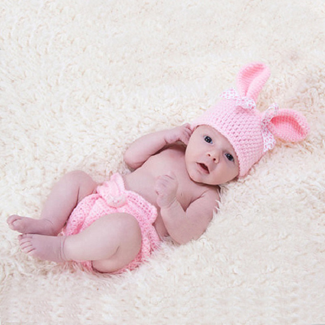 Newborn baby girl crochet rabbit hat photography props outfits infant baby birthday photo shoot fotografia accessories