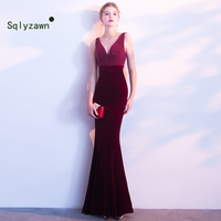 06a89e5c96aa3 2000 Rhinestone Bead Sexy Evening Velour Dresses Deep V Neck Elegant Winter  Autumn Soft Velvet Evening