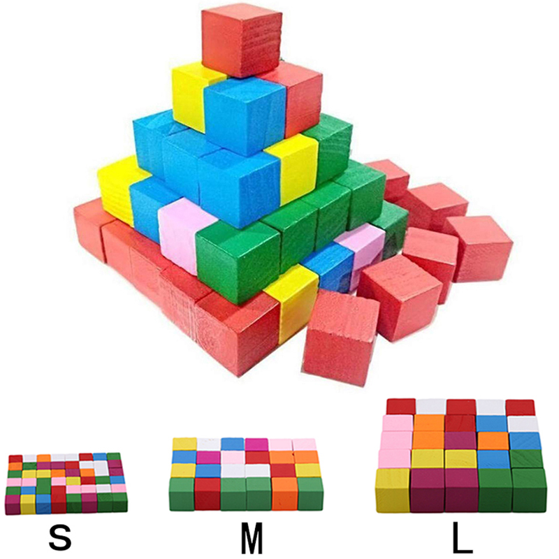 25-50pcs/Pack Montessori Colorful Wood Cube Blocks Bright Assemblage Block Early Educational Early Learning Toys Kids Children