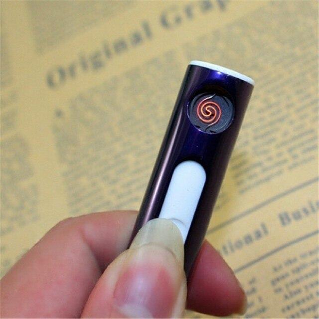 Tabak Sigarettenaansteker USB Aansteker Elektronische Oplaadbare Vlamloze Sigaar Winddicht Goud Metalen Pijp Aansteker