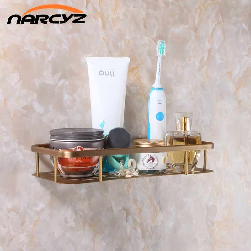 Bathroom Shelves Shampoo Holder 30cm Wall Mounted Strong Brass Made Chrome Single Tier Bathroom Shelf Bathroom Basket 9099K single tier wall mounted black finish carving brass bathroom shower shampoo shelf basket holder i633