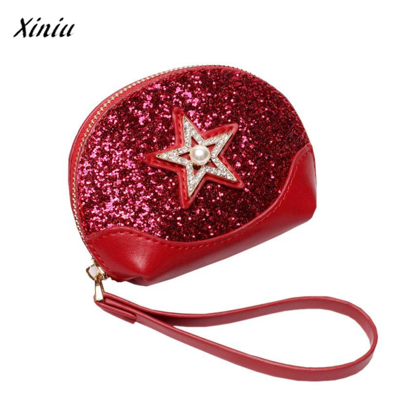 Women Five-pointed Star Pearl Sequins Small Coin Wallet Coin purse monederos para mujer monedas cat purse