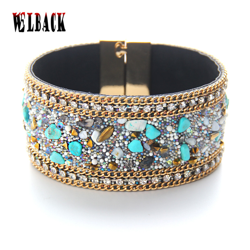 2016 New arrival fashion womans' leather bracelet natural stone accessories width Magnetic buckle bangles fashion jewelry