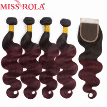 Miss Rola Hair Pre colored Ombre Peruvian Body Wave 1B 99J 100 Human Hair Non Remy