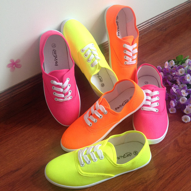 c0e4b0192a43 Hot sale women neon color sneakers flat lace up canvas shoes nice girl  summer breathable casual shoes size 35-40