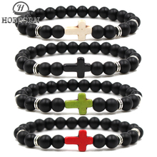 HOBBORN 8mm Natural Stone Cross Men Bracelet Handmade DIY Rainbow Charm Religious Female Bracelets Jewelry Pulsera Cruz