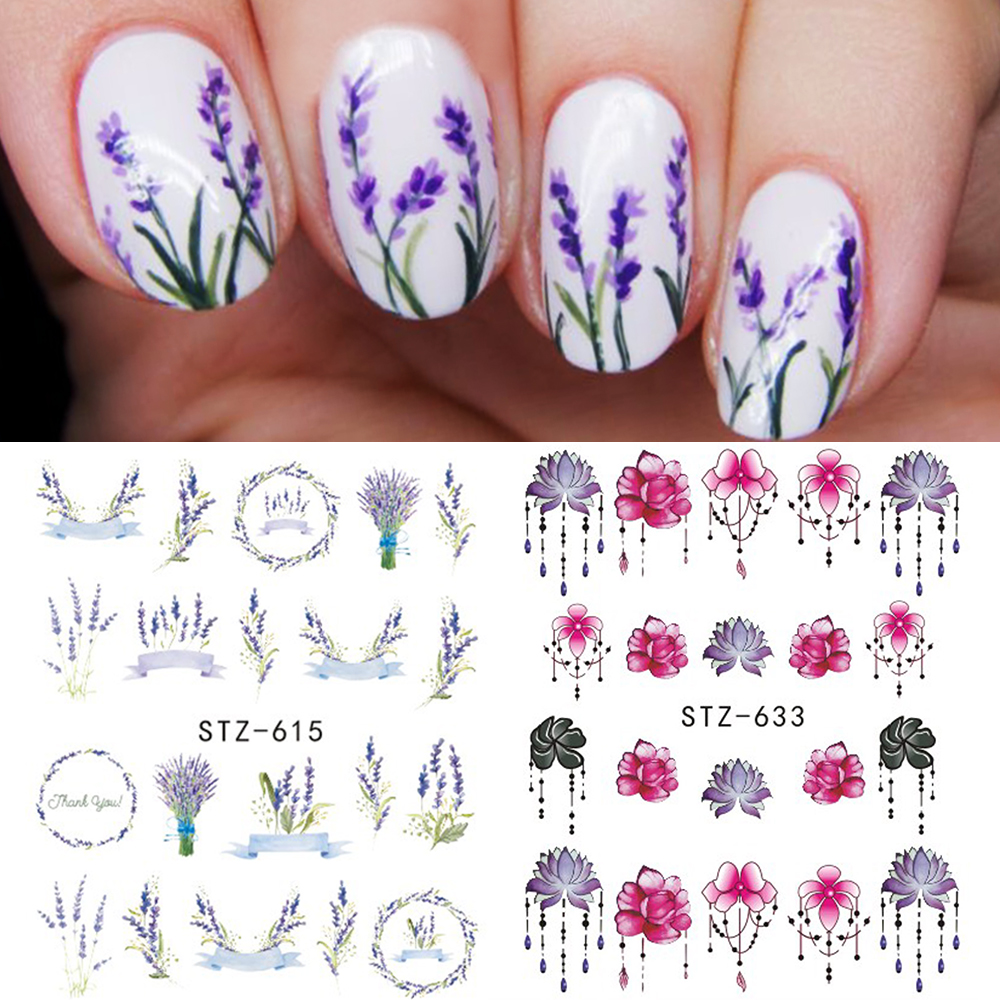 1 Sheet Nail Sticker Water Transfers Stickers Mixed Flowers Colorful Designs Decal DIY Nail Art Foil Tips Stencil SASTZ608-658 ...