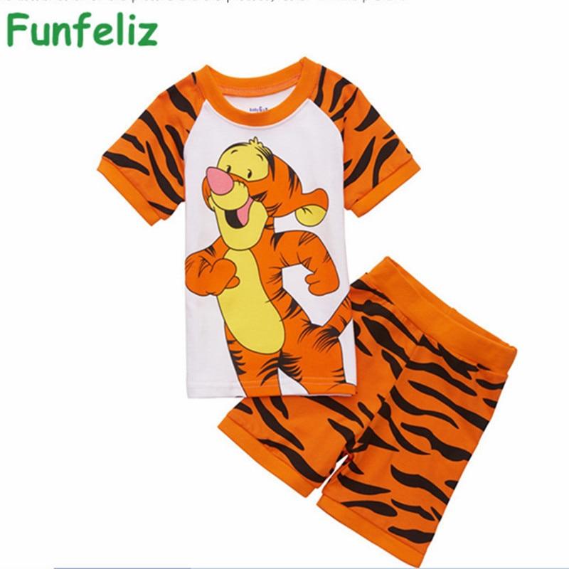 Boys summer Clothes Cartoon Tiger boy clothing set 2016 Summer Cotton Boys Pajamas set Cute Boy Pijama clothes 2T-7T