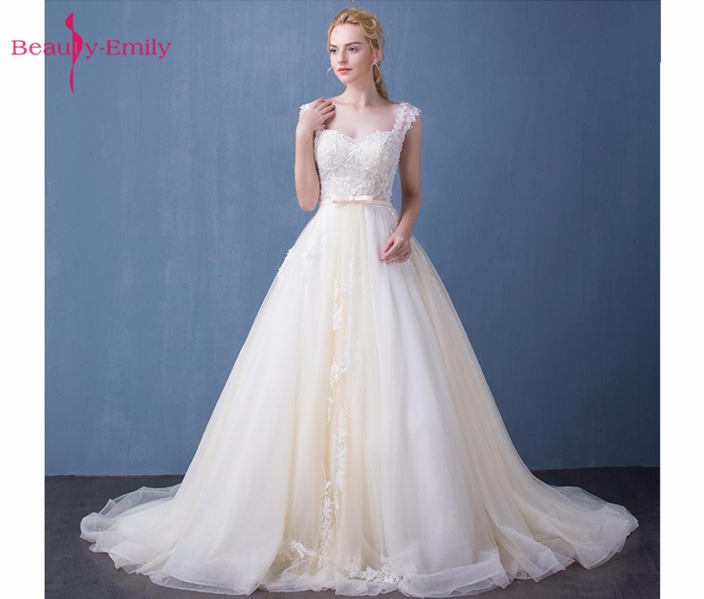 Beauty Emily Vestido De Novia Ivory Appliques Lace Up Wedding ...