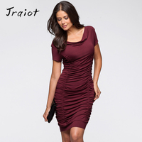 JRQIOT Women Office Dress Summer Style Sheath Draped V Neck Sexy Dresses Black Tube Beach Dress