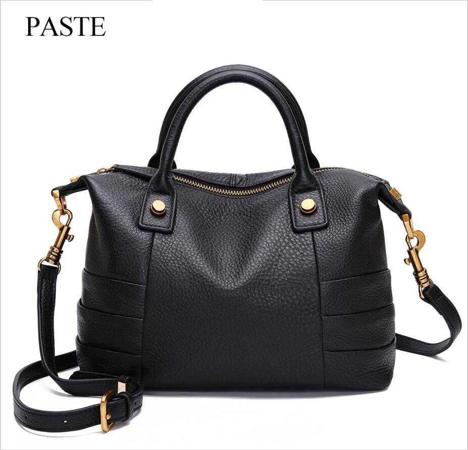 PASTE New Leather Handbags Boston First Layer of Leather Hand-held Messenger Soft Leather Bag Retro Style Handbag Shoulder Bag famous brand top leather handbag bag 2018 new big bag shoulder messenger bag the first layer of leather hand bag