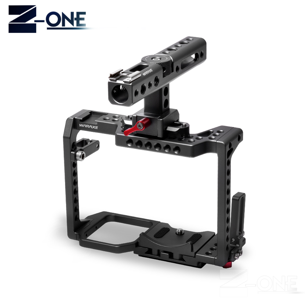 WARAXE GH5 Kit Camera Cage,for Panasonic GH5 GH4 with NATO Rail Handle Grip and 1/4 and 3/8 Threaded Holes Cold Shoe Base