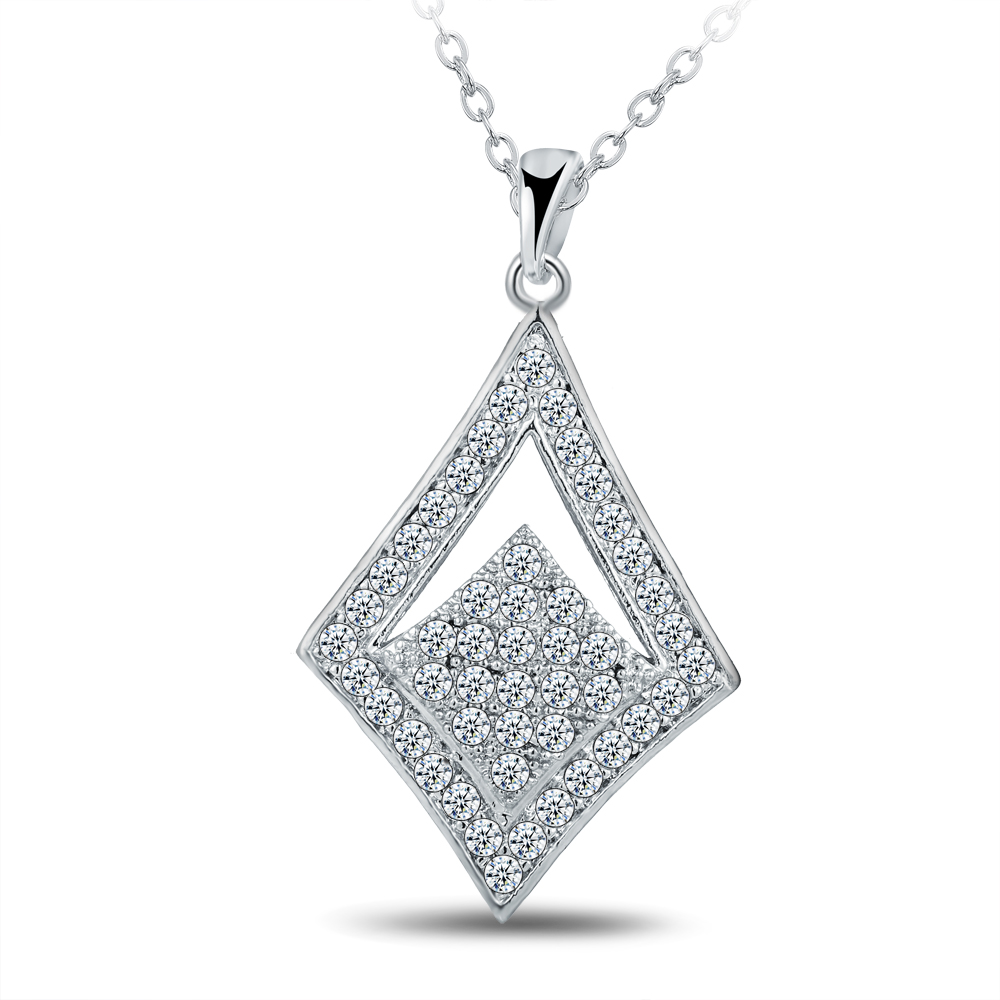 Fashion Pave Setting Cubic zirconia Square Crystal Necklace Pendant White Gold color Chorker Chain Women Necklace Jewelry