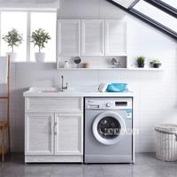 AQ DW 1.3M Space Aluminum Bathroom Cabinet High quality Balcony Storage Cabinet Washing Machine Laundry Pool Combination Cabinet