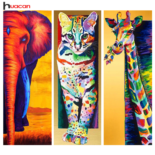 Huacan DIY 5D Diamond Painting Animals Cross Stitch Full Square ...