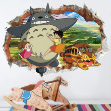 My Neighbor Totoro 3D Broken Wall Stickers For Nursery Kids Room Decoration PVC Movie Cartoon Animals Mural Art Home Anime Decal