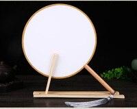 Okrągły DIY Białe Spersonalizowane Fani Ręczne Uchwyt Tradycyjnego Rzemiosła Chiński Fanem Tańca Costume Dekoracyjne Tkaniny Jedwabne Fanem