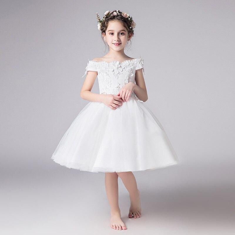 Длинное платье с цветочным узором для девочек, украшенное бусинами; Новинка года; праздничное платье для девочек на свадьбу; Красивое бальное сексуальное платье с открытыми плечами - Цвет: as picture