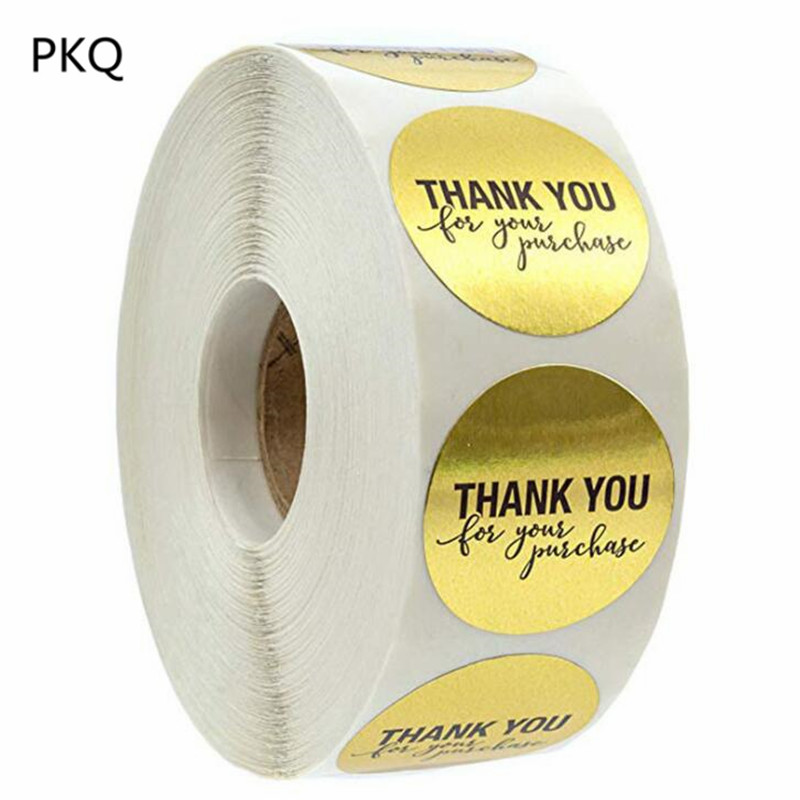 2.5cm Diameter Round Gold Foil Thank You For Your Purchase Stickers / 500 Labels Per Roll Party Wedding Decoration Sticker(China)